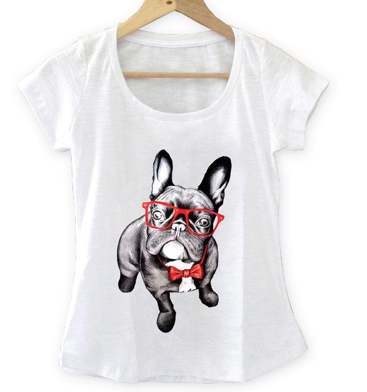 T-shirt Feminina Dog com óculos e gravata, Tecido Flamê - Cam Shirts ... a218a28af8