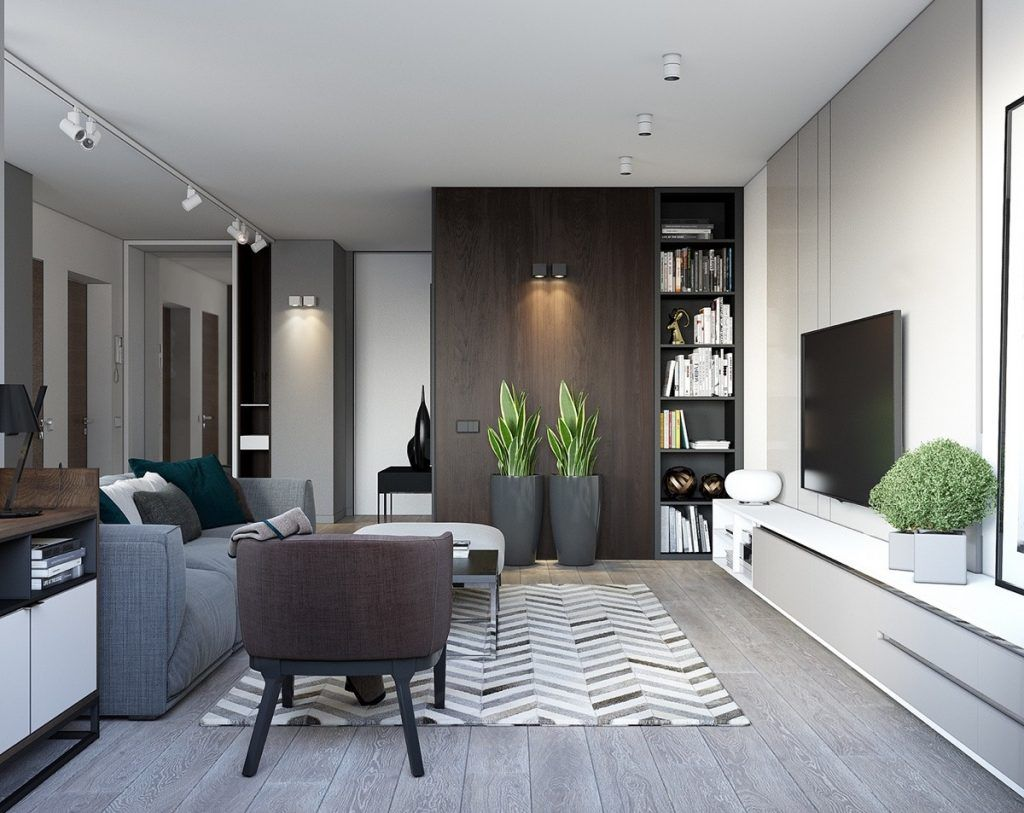 Spacious Looking One Bedroom Apartment With Dark Wood Accents With Images Small House Interior Design Apartment Interior Design Apartment Design