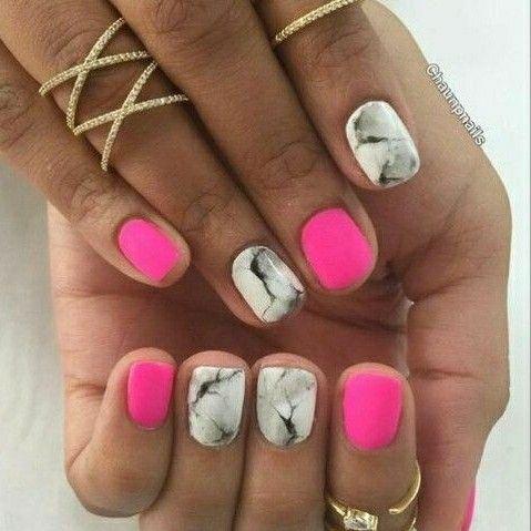 Short Nails Pink Nails Marble Nails Neon Pink Nails Manicure Pink Nails Trendy Nails Dipped Nails