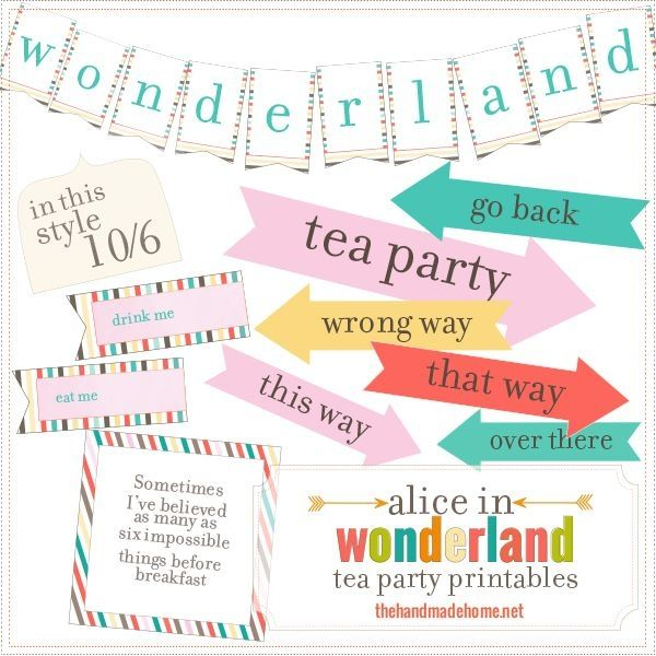 alice in wonderland tea party free printables  the handmade home by mae