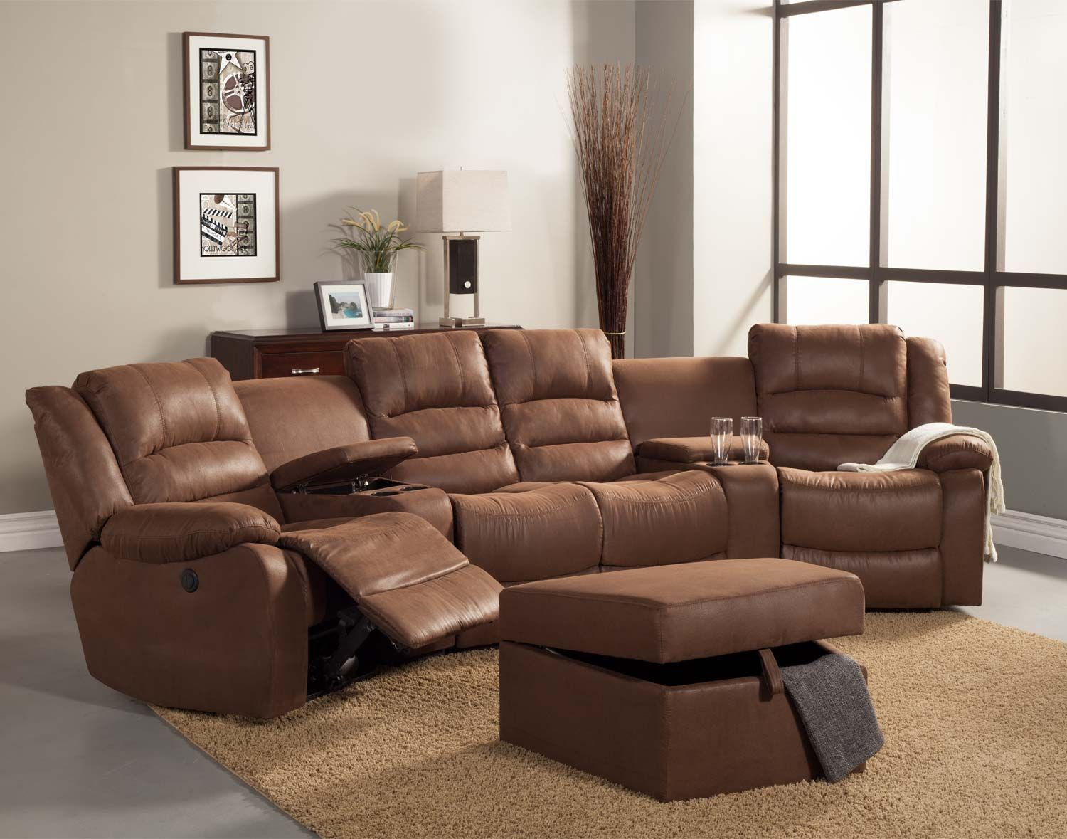 Homelegance Tucker Sectional Sofa Set Brown Bomber