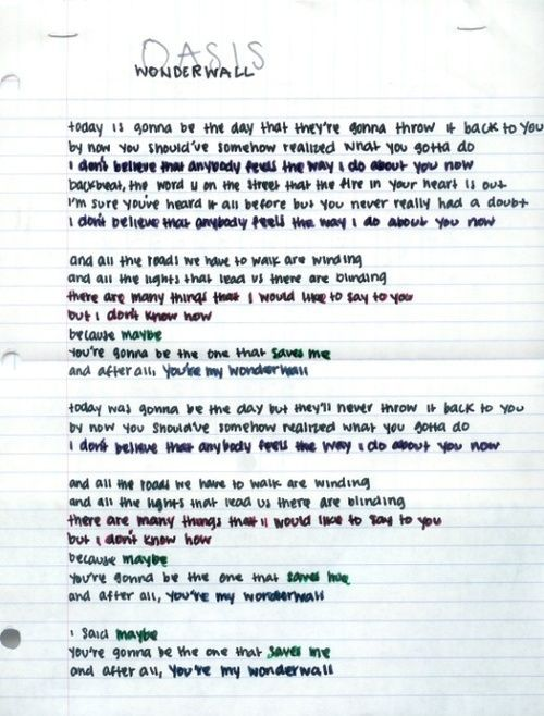 Wonderwall By Oasis With Images Oasis Lyrics Words Song