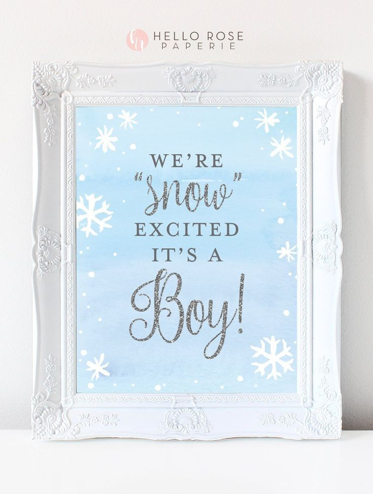 We're Snow Excited It's a Boy Printable Sign . Baby its Cold Outside Winter Snowflakes Baby Shower Boy . Blue and Silver . Instant Download #winterwonderlandbabyshowerideas