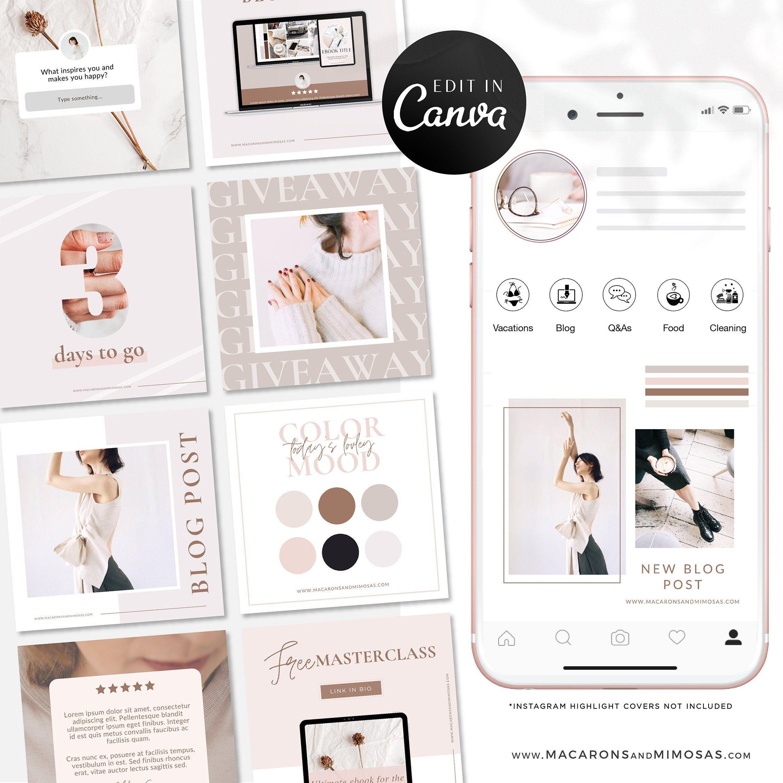 Instagram Templates for Canva, Pink Instagram Theme, 50 Instagram Post Template Bundle, Instagram Branding Kit Girl Blogger, Story Templates