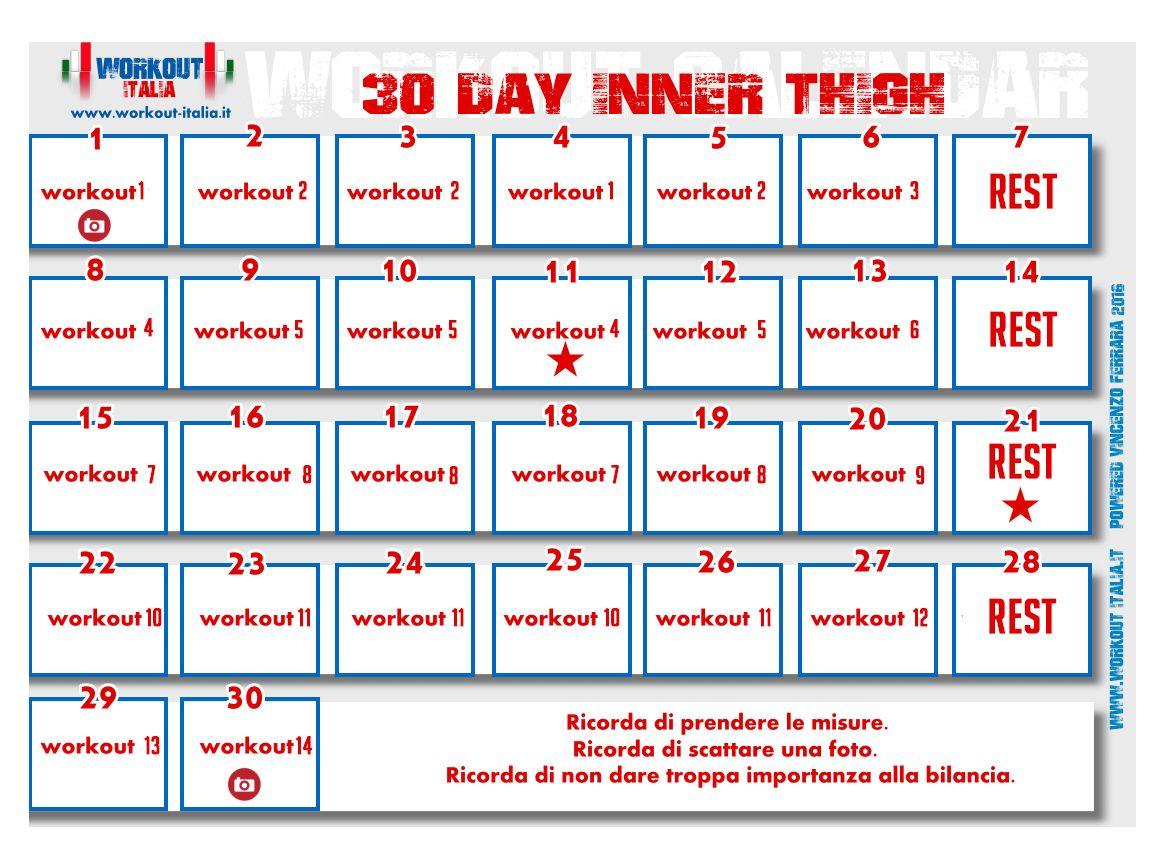 Calendario interno coscia allenamento pinterest for Interno coscia in palestra