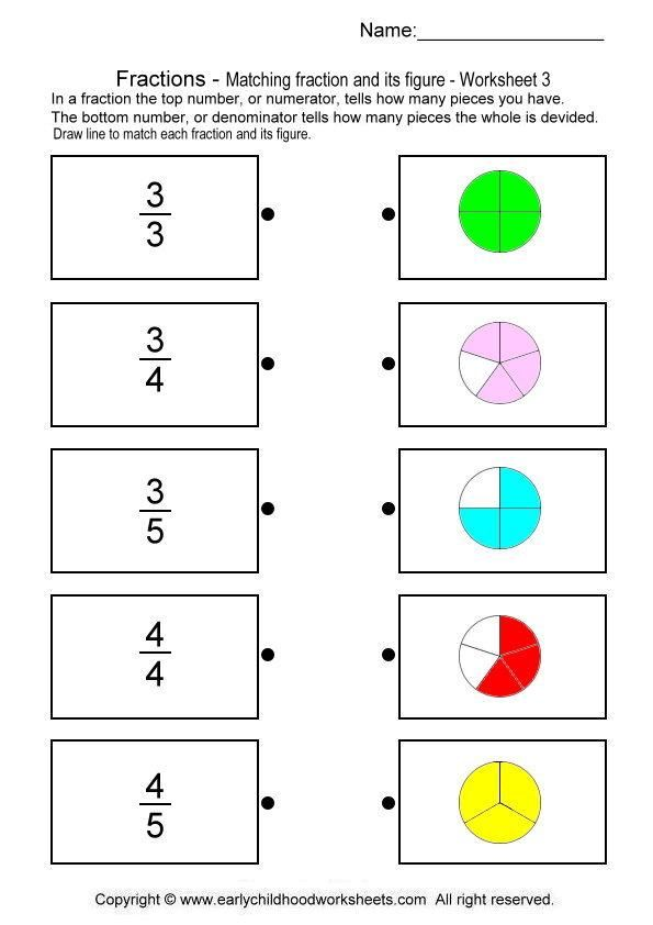 imatching fractions with pictures | matematicas | Pinterest ...