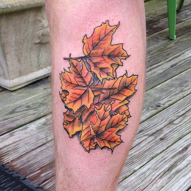 Paul came in for some leaves I drew up. Thanks man! #tattoo #apprentice #apprenticetattoo #tattooaprentice #fall #falltattoo #colortattoo #legtattoo