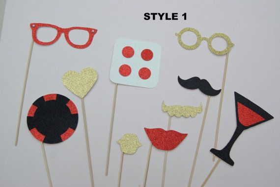 Glittery Casino Photobooth Props- Gold, Red and Black Party - Poker James Bond Set - . Great for Hen Parties, Weddings etc
