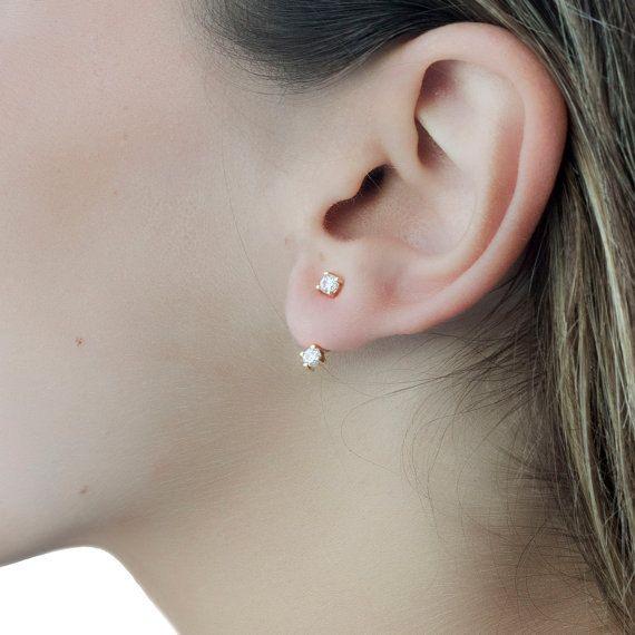 Black earrings Black stud Front back earrings Double sided earrings Ear jackets Minimalist studs Black stud earrings Minimal earrings