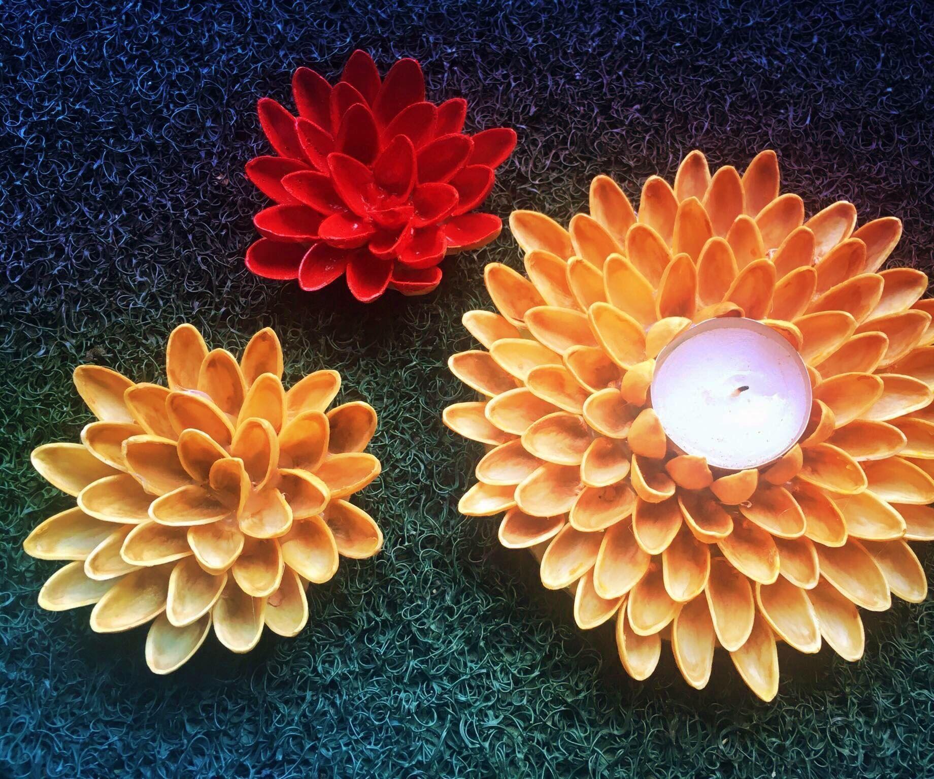 Pistachio Shell Flowers And Votive Holder Seashell Artwork