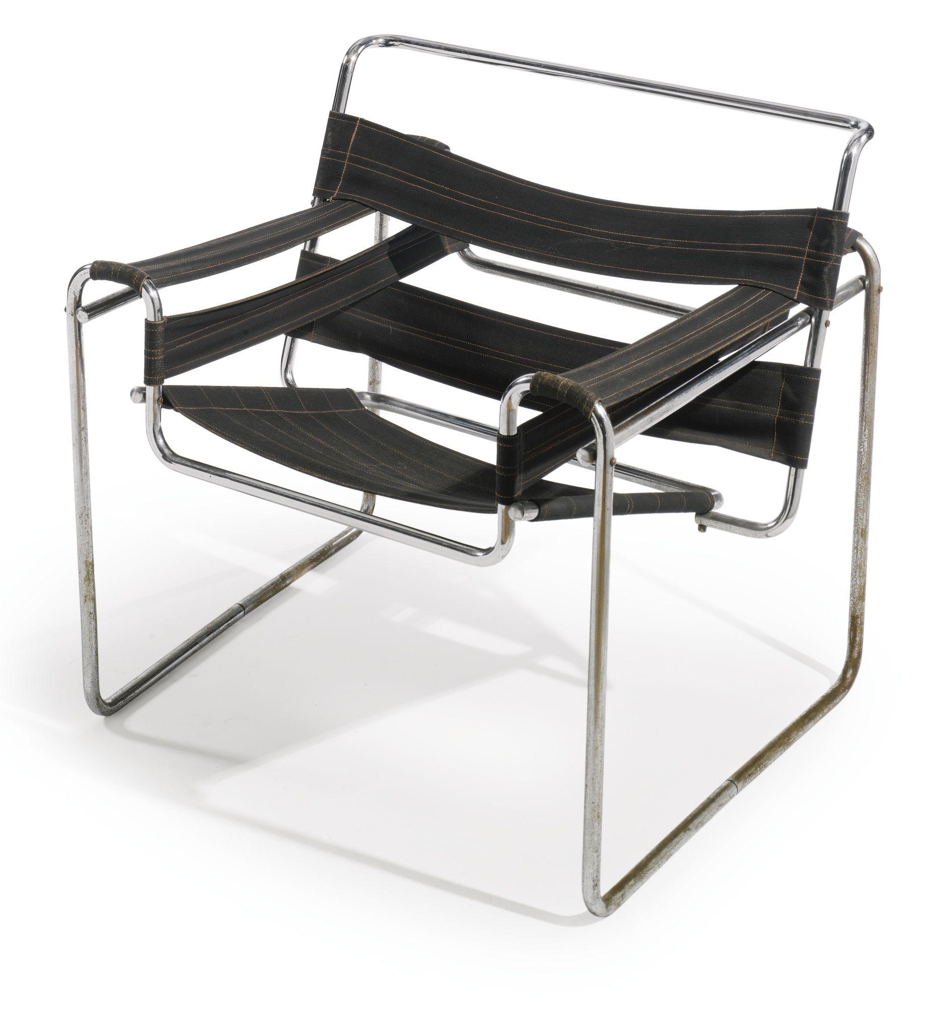 Wassily Chair Model B3 Marcel Breuer Chromium Plated Tubular  # Muebles Tubulares