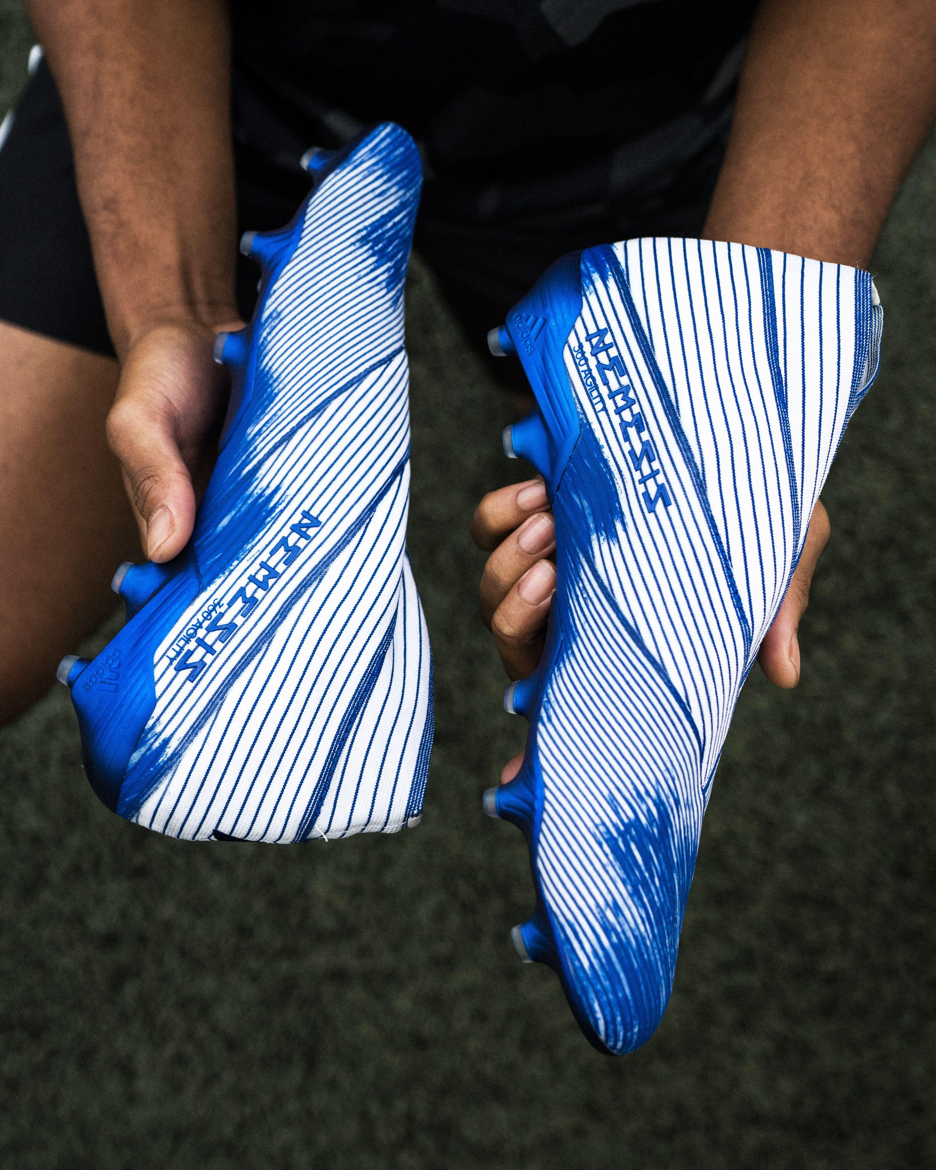 Adidas Nemeziz 19 Fg Soccer Cleats White Royal Blue In 2020 Soccer Cleats Soccer Cleats Adidas Soccer Boots