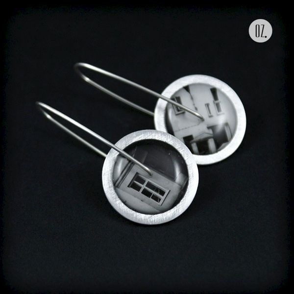 Circles City of Warsaw XIII - aluminium and silver earrings with resin