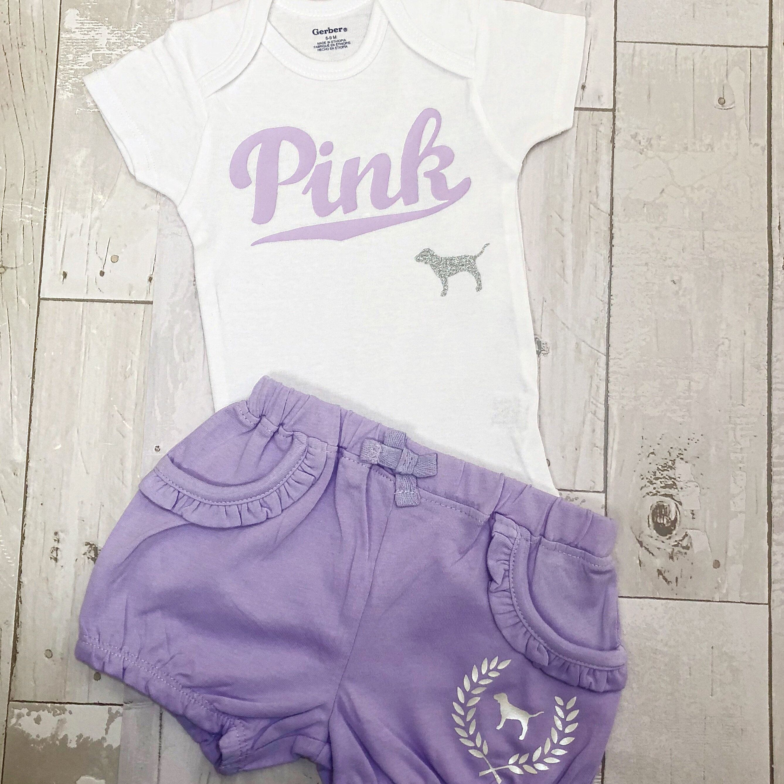 Toddler Baby Girls Love Pink Size 6 9 Months Shorts Outfit Sets