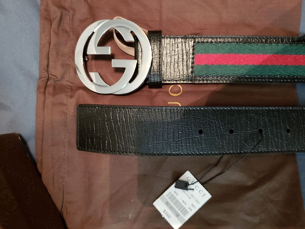 Authentic mens gucci web belt stripes with silver buckle