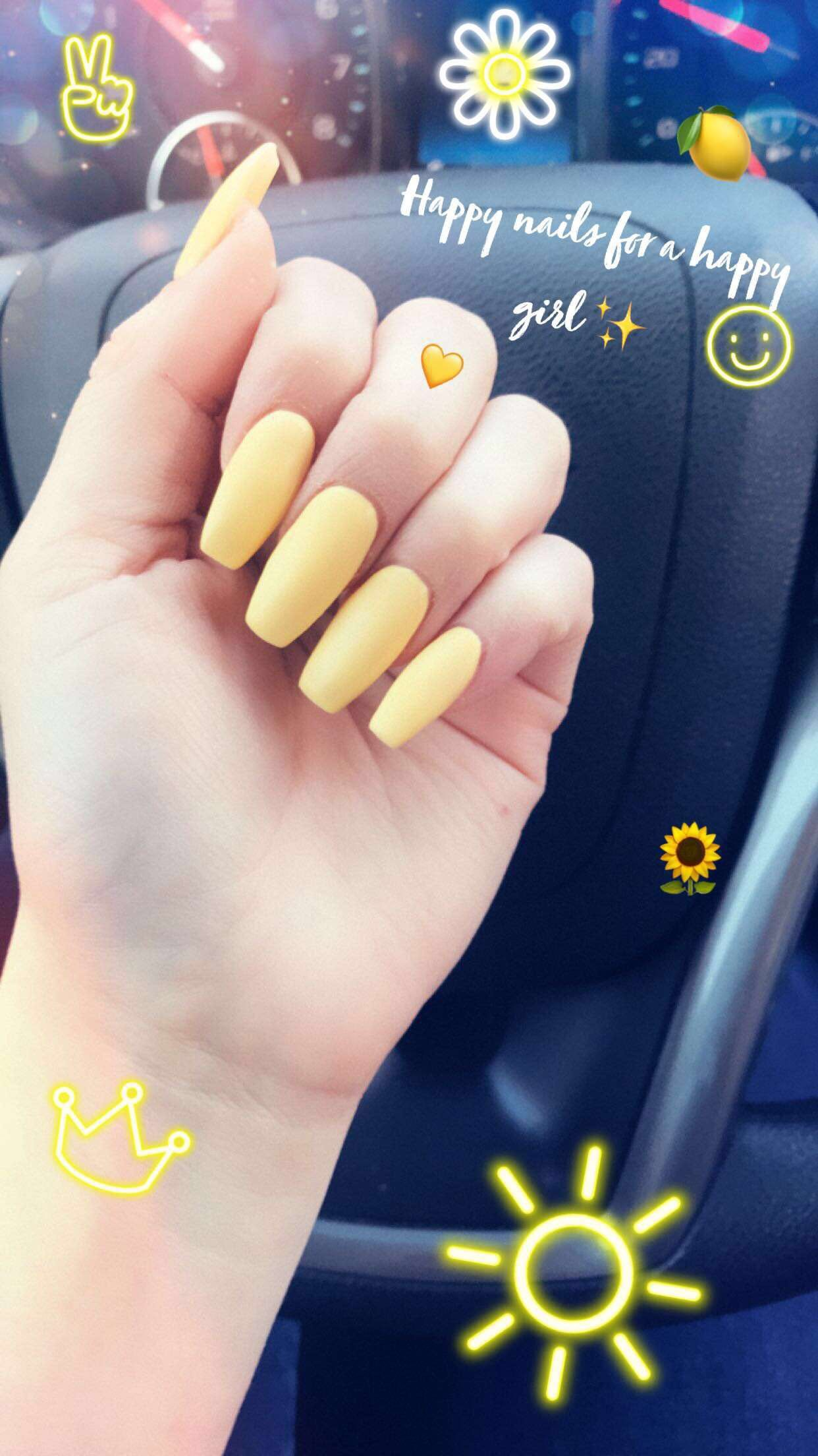 Yellow Coffin Acrylic Nails CoffinNails Spring Acrylics