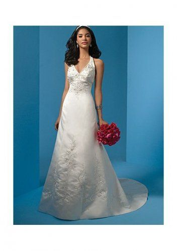 Satin Sexy V-neck With Beaded Halter And A-line Skirt Embroidery Chapel Train Wedding Gown WD1262