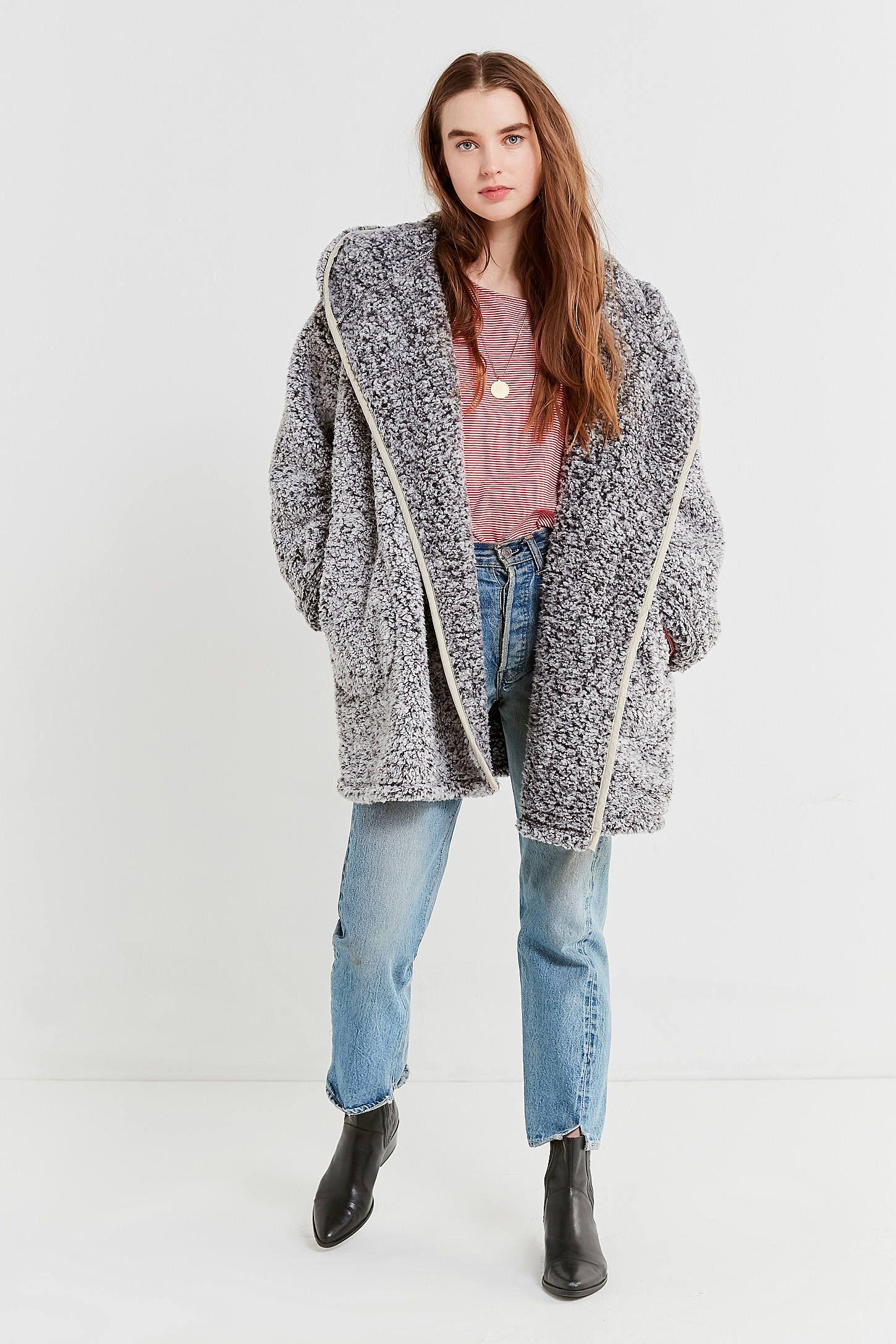 a8d0046c2 UO Shaila Oversized Fuzzy Jacket