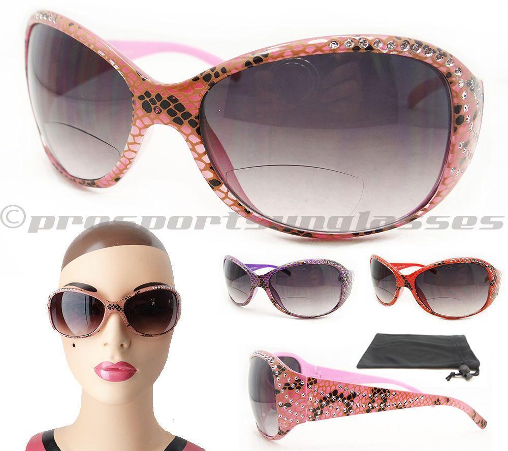 763ab37769f5 Womens Bifocal Sunglasses Snake Print And Rhinestones  1.00