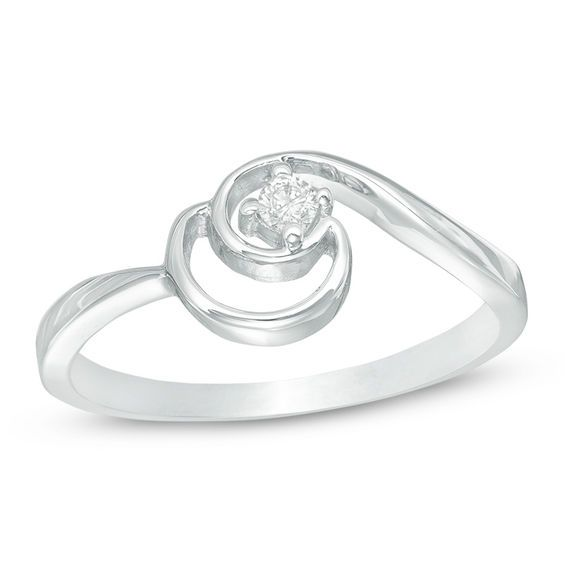 Diamond Accent Crescent Moon Promise Ring In 10k White Gold White Gold Promise Rings Rings