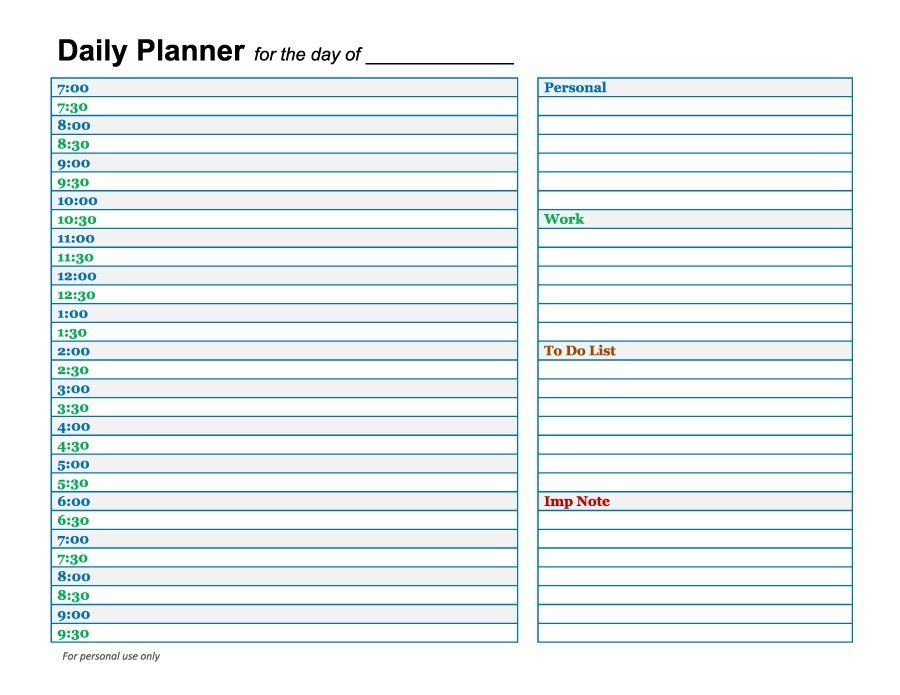 Printable Daily Planner Templates Free  Template Lab  Date