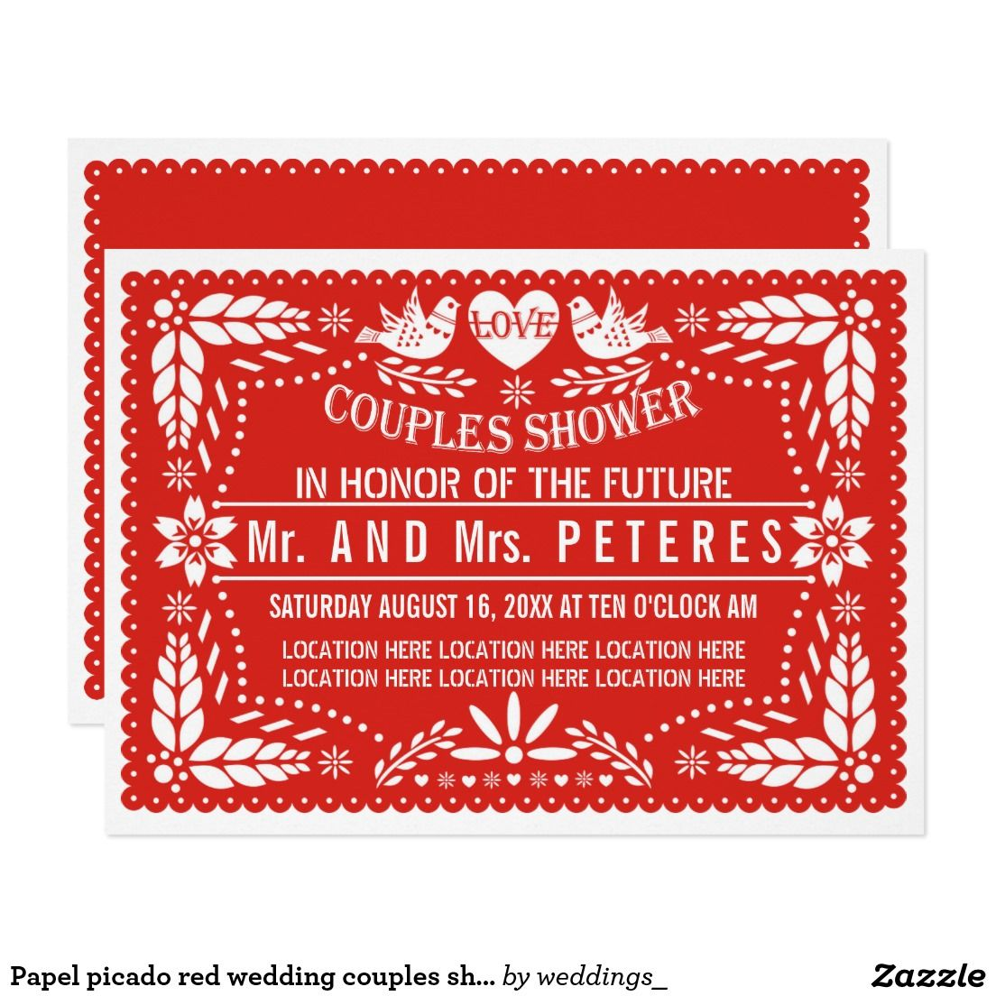 Papel picado red wedding couples shower card | Couple shower ...