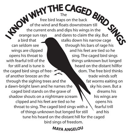 I Know Why The Caged Bird Sings By Maya Angelou Title A Caged Bird Can Be Interpreted As The Black Race Being Maya Angelou The Caged Bird Sings Bird Quotes