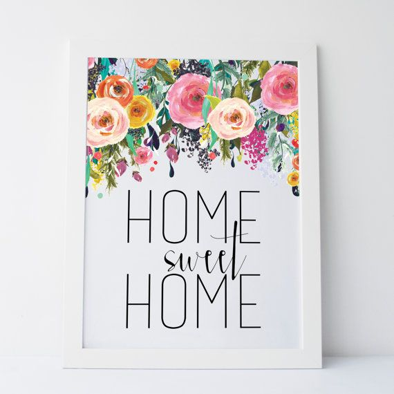 "Home Sweet Home Wall Art printable art ""home sweet home"" floral print gallery wall prints"