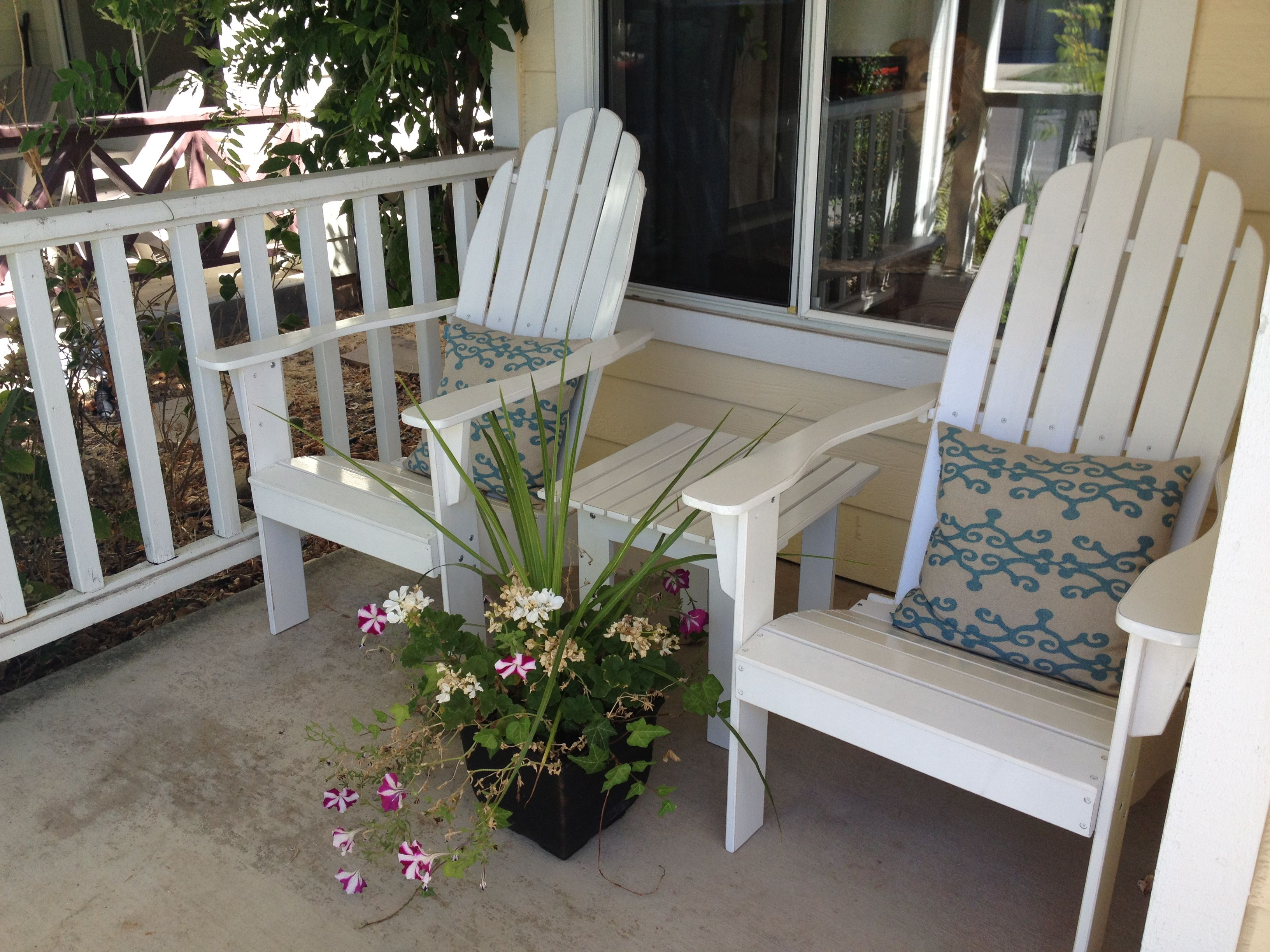 Unique Pair Of White Wooden Adirondack Chairs And Cute Blue Graphic  Cushions Also Cool Small Wooden