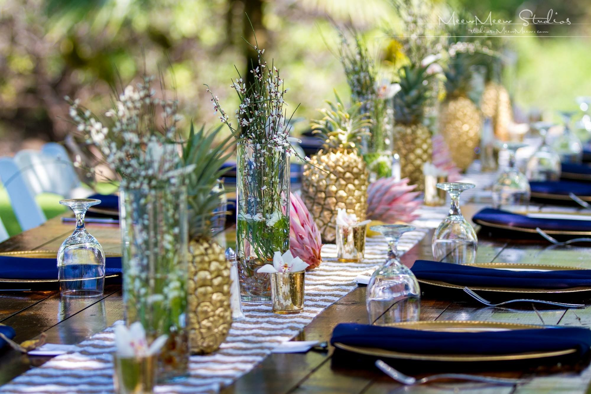 Kukahiko Estate Wedding pineapples blush flowers tropical chic