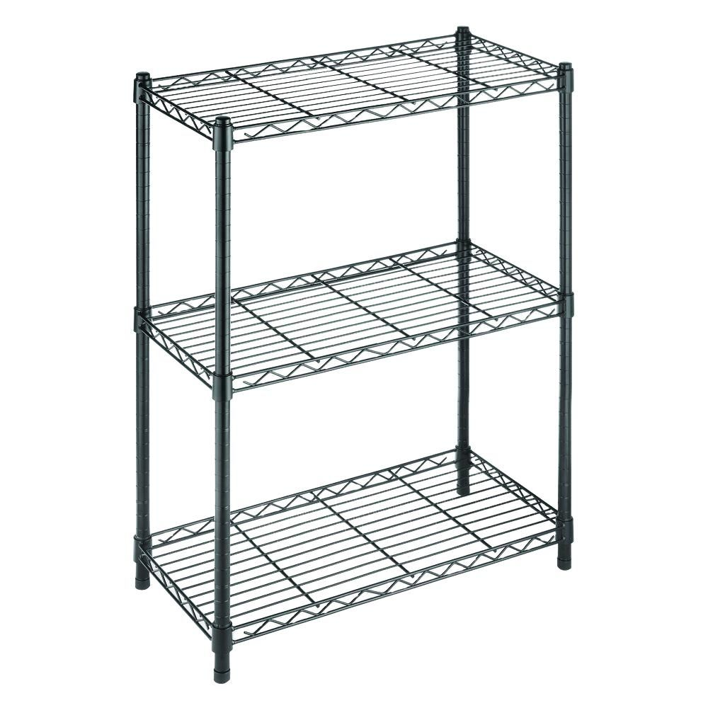 Hdx Black 3 Tier Wire Shelving Unit 23 In W X 30 In H X 13 In D 31424bps The Home Depot In 2020 Steel Shelving Unit Whitmor Steel Shelving