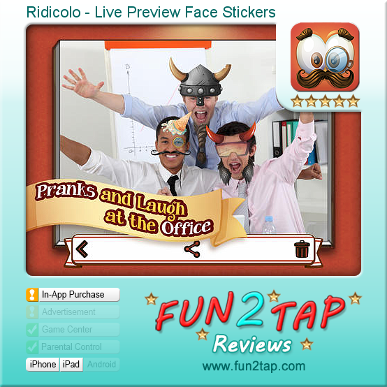 Ridicolo - Live Preview Face Stickers - Goofy Face Recognition Photo App. Full review at: http://fun2tap.com/index.cfm#id2324 --------------------------------------------- #apps #iosApps #iPad #iPhone #games