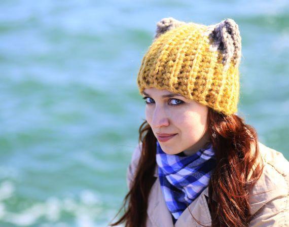 28f860f6767 Chunky yellow cat hat with beige ears Handmade Adult fashion Crochet beanie  Warm soft hat gift ideas