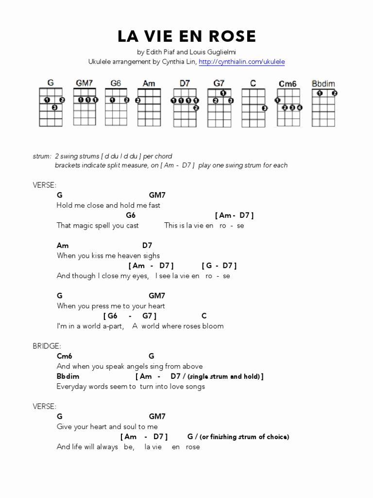 la vie en rose edith piaf ukulele chords beautiful la vie en rose ...