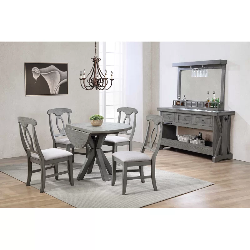 Ophelia Co Vergara 5 Piece Drop Leaf Dining Set Wayfair Furniture Solid Wood Dining Chairs Upholstered Dining Chairs