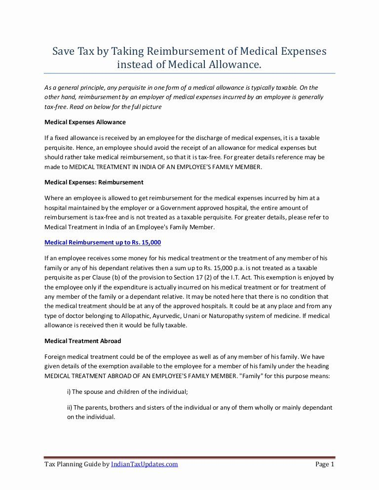Certification Of Medical Records Form Inspirational Tax Saving On Medical Reibursement Under Section 17 2 Medical Records Address Book Template Medical