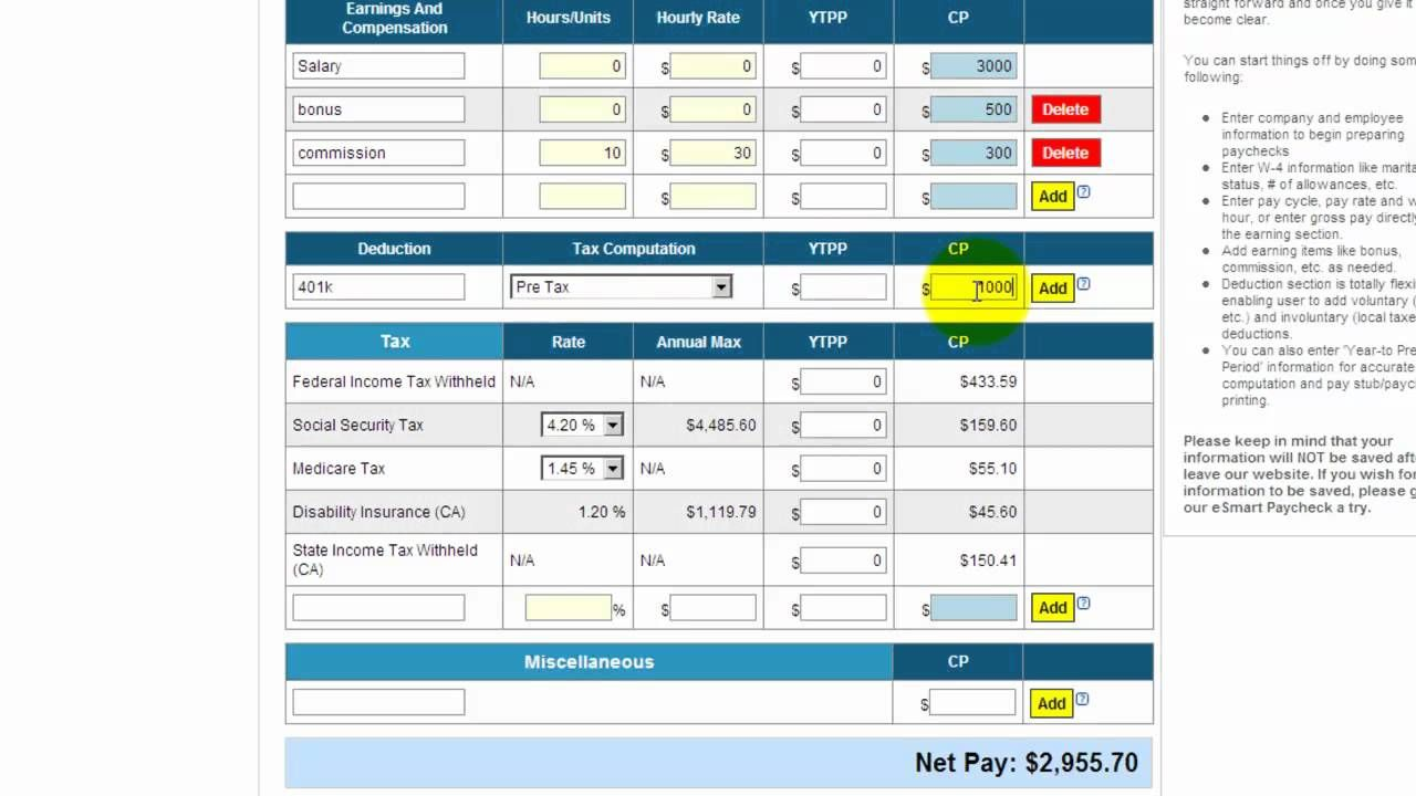 free payroll tax paycheck calculator