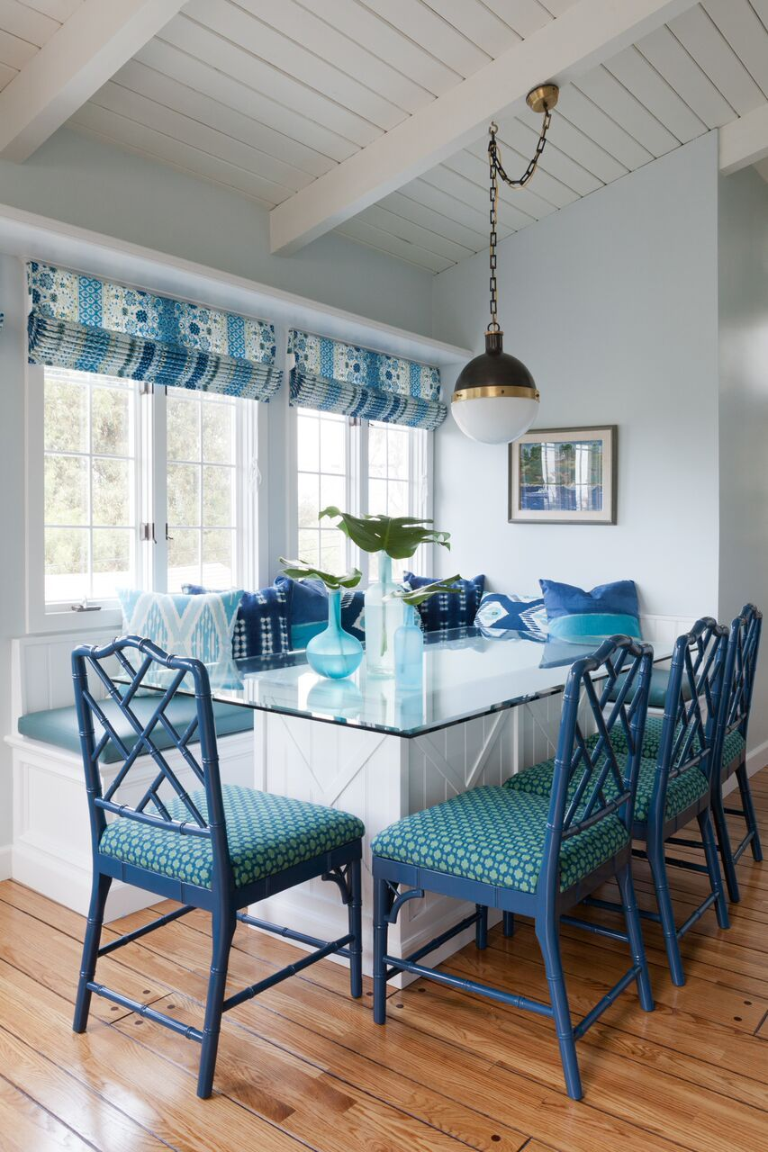 Beautiful kitchen and great room decor in shades of blue and green ...