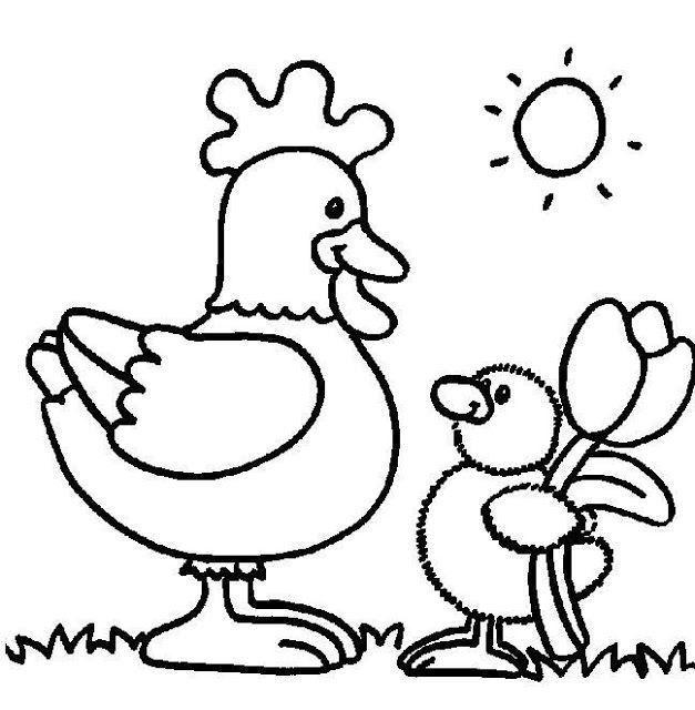 gallina%2520pllo%2520flor.jpg (627×640) | Dibujos infantiles lindos ...