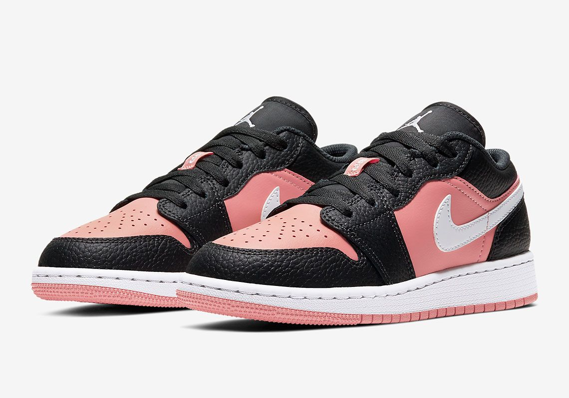 The Air Jordan 1 Low Pink Quartz Paired With Black Tumbled