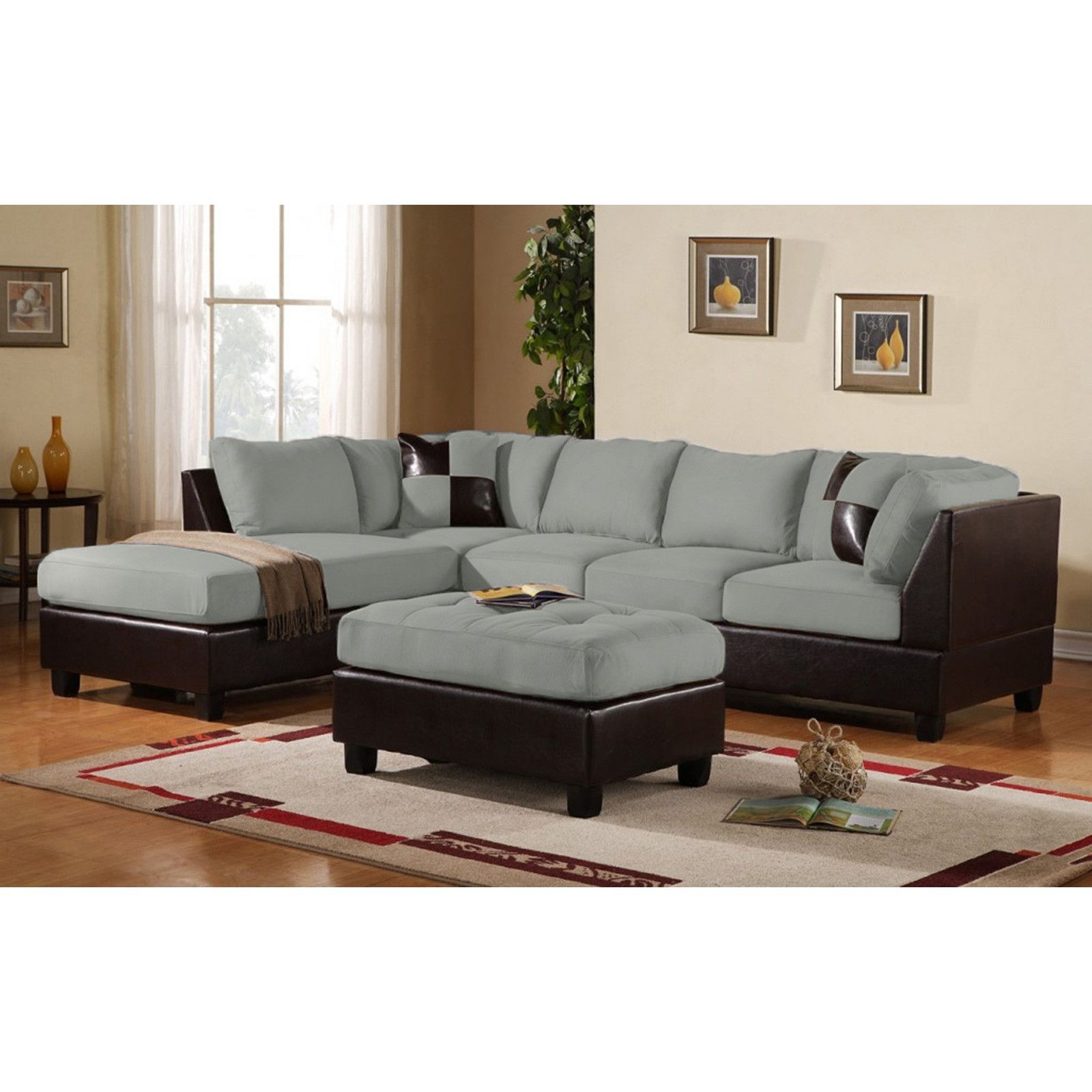 Madison 3 Piece Modern Soft Reversible Microfiber And Faux Leather Sectional Sofa With Ottoman
