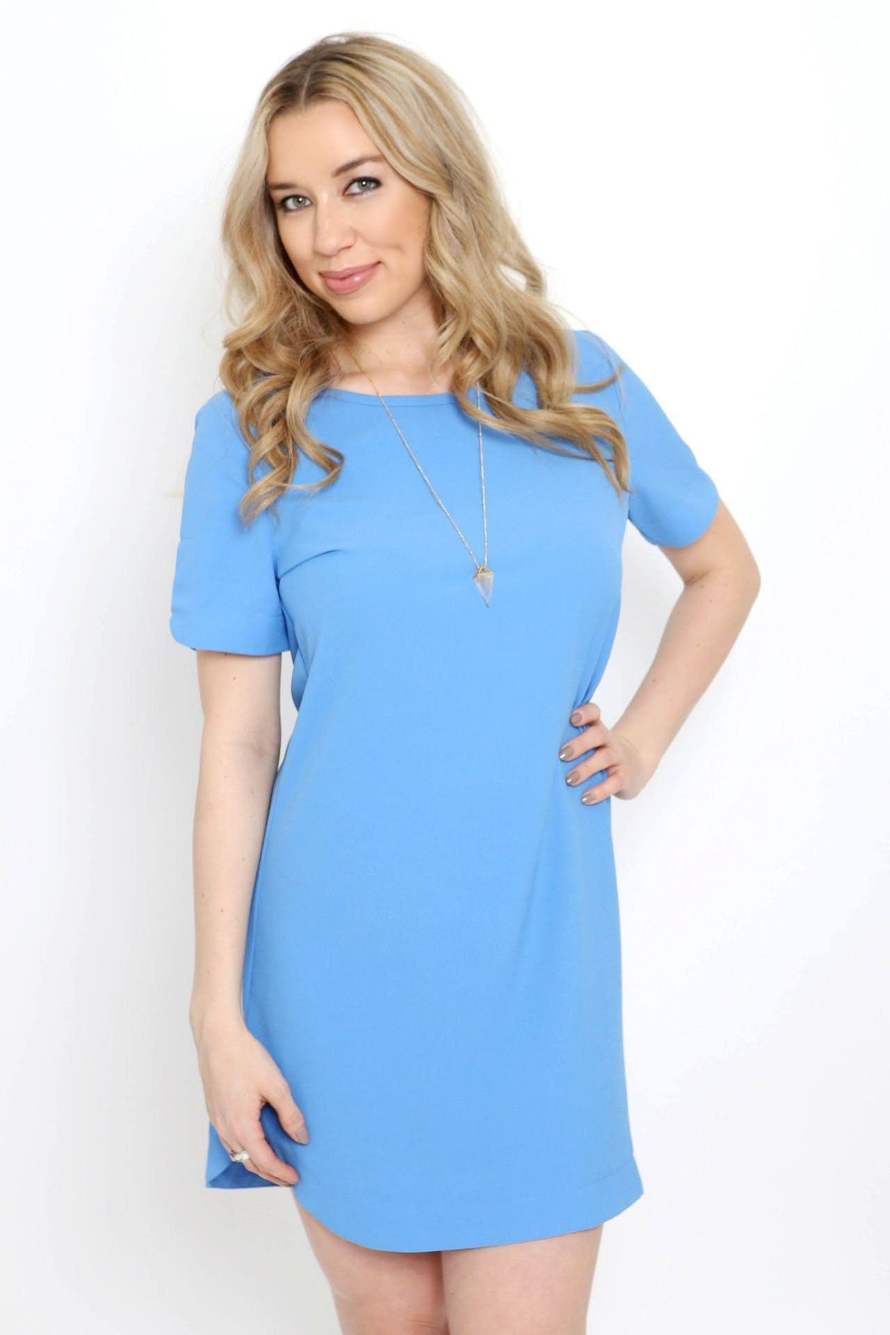 Baby blue short sleeve shift dress baby blue short sleeves and