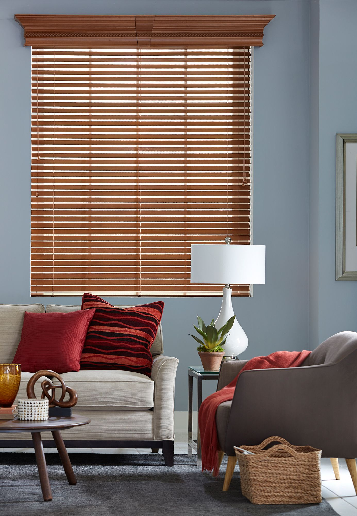 Routeless Wood Blinds provide an extra level of light control. Shown ...