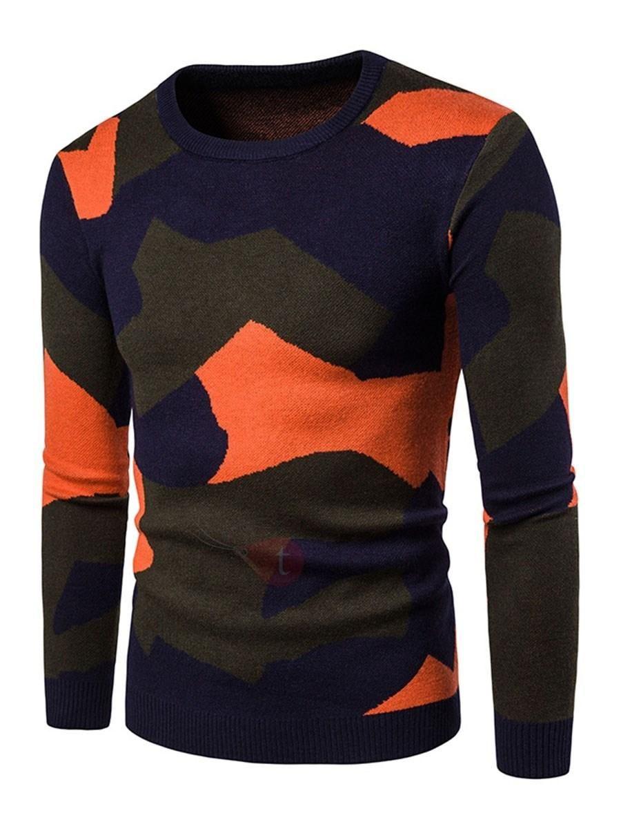 88d19c4f93  AdoreWe  TideBuy -  TideBuy Camouflage Leisure Loose Round Neck Mens  Sweaters - AdoreWe.com
