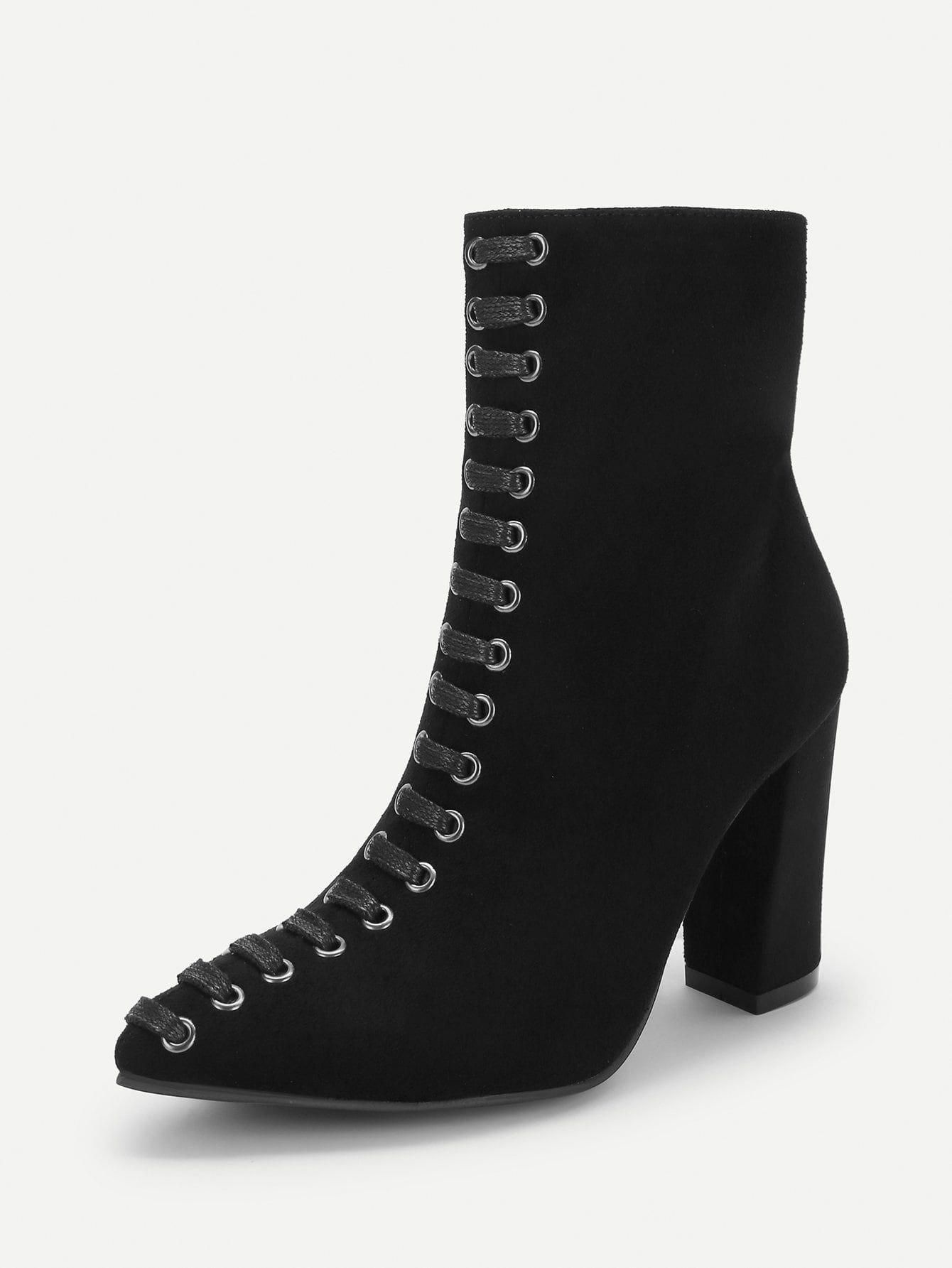 527fe84b4d0 Workwear Point Toe Plain Ankle Side zipper Black High Heel Chunky Lace Up Side  Zip Boots