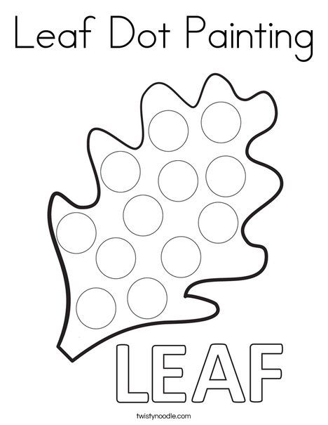 Leaf Dot Painting Coloring Page Twisty Noodle Preschool Crafts Fall Dot Painting Thanksgiving Worksheets Kindergarten