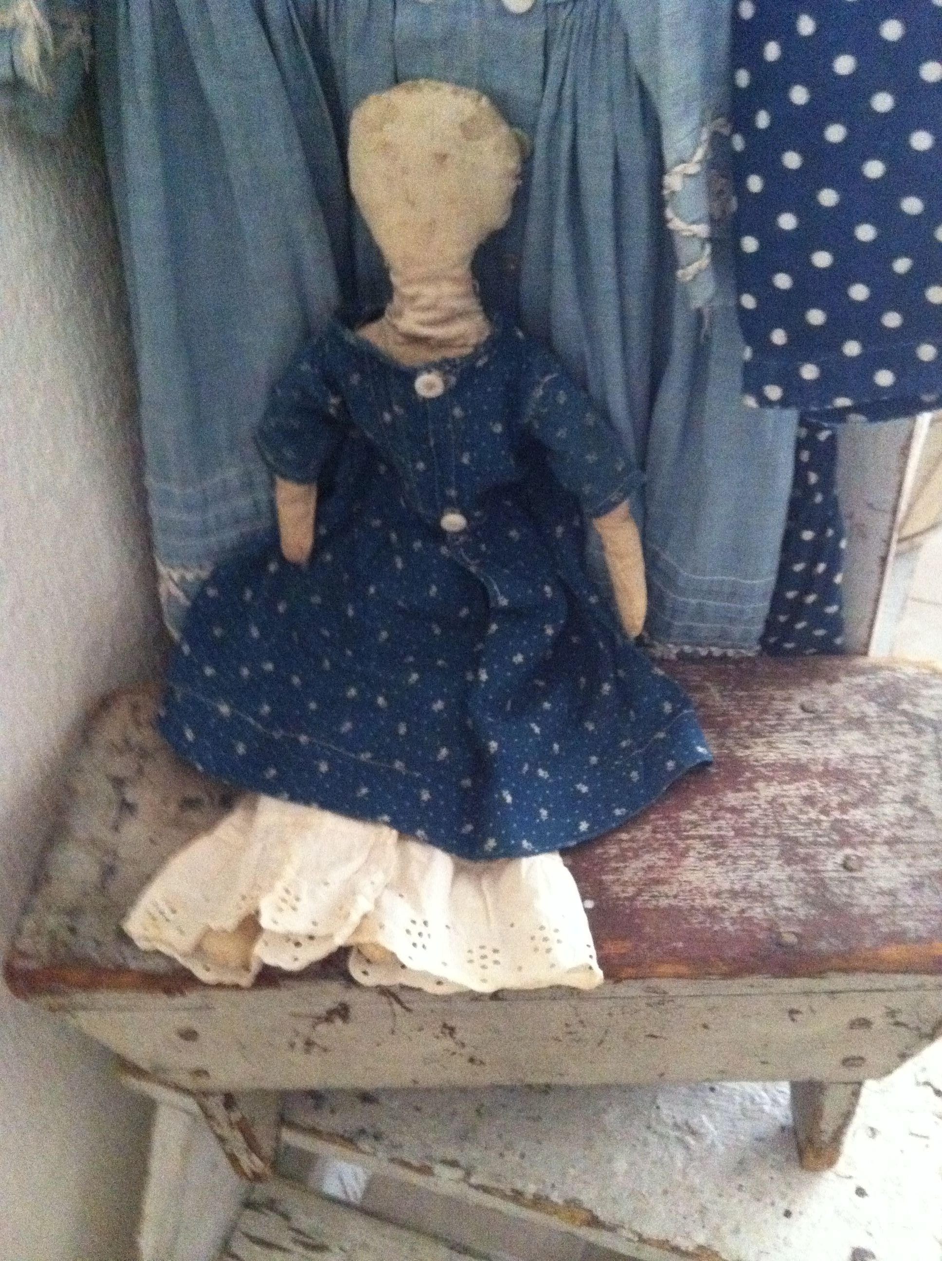 19Th C Early Cloth Doll..