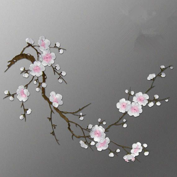 Plum Blossom Embroidered AppliquesAdhesive Embroidered