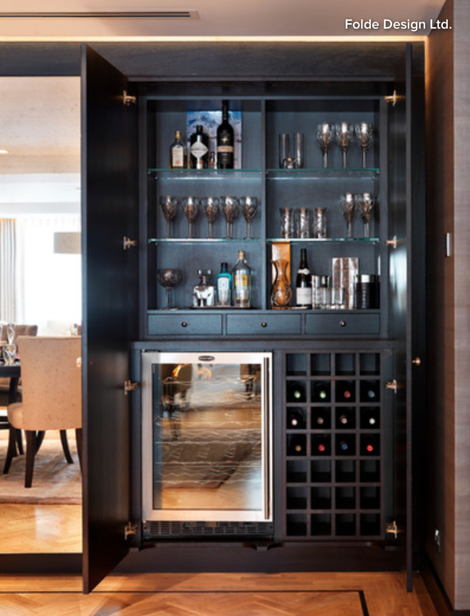 Butlers Pantry Cabinet in SemiGloss Black with Wine Storage Beverage Refrigerator Open Glass