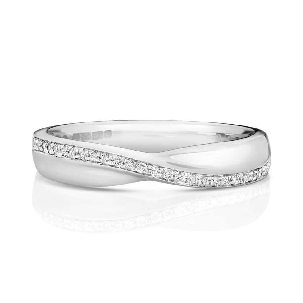 Womens Platinum Crossover Diamond Wedding Ring Platinum Wedding Rings Diamond Wedding Rings White Gold Diamond Wedding Rings